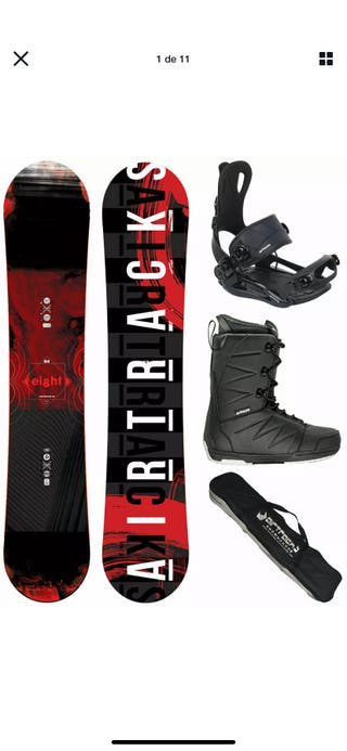Tabla snowboard + fijación + botas + bolsa