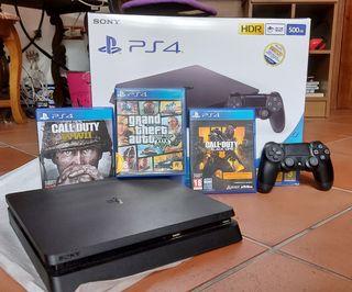 PS4 Slim 500GB + Mando Dualshock SONY + 3 juegos