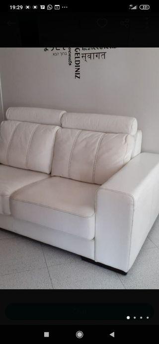 sofá de diseño piel blanco