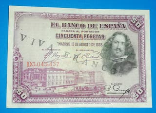 "Billete de 50 Pesetas 1928, Resello "" Viva Franco"""