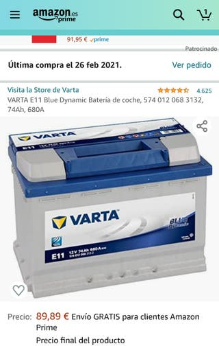 Batería Nueva VARTA E11 74Ah 680A