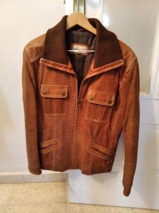 chaqueta cuero piel marron