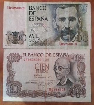 LOTE 2 BILLETES 1000 PESETAS 1979 - 100 PTAS 1970