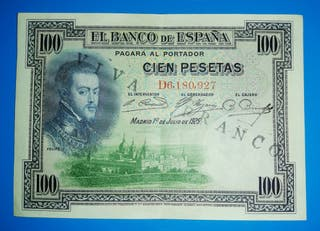 """Billete de 100 Peseta de 1931 Resello """"Viva Franco"""