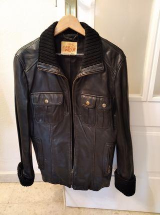 chaqueta cuero piel negra