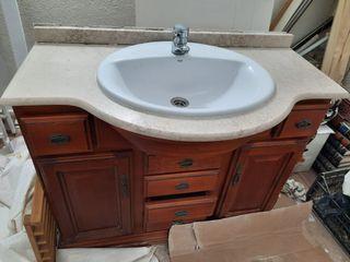 Mueble baño+Espejo+encimera+grifo+lavabo