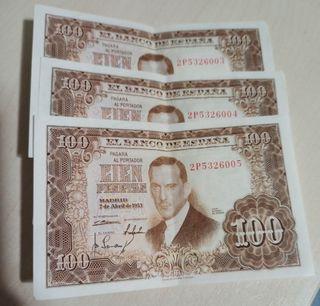 100 pesetas año 1953