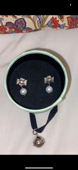 Pendientes plata y perlas tous