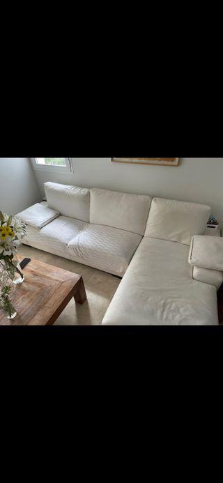 Sofá chaiselonge en piel blanco