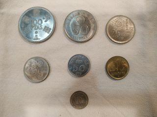 Juego 6 monedas mundial 82 y una moneda boliviana