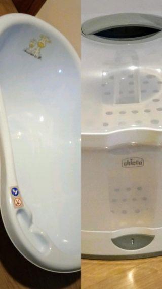bañera plástico bebé + esterilizador chicco