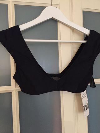 Top negro bikini Zara talla S
