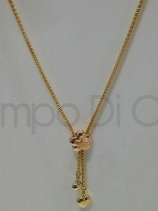 Gargantilla flor bicolor oro 18k