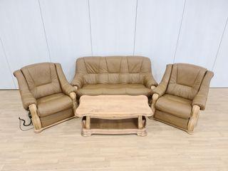 Sofas Rusticos de Piel Crema Con sillon Relax