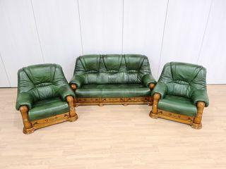 Sofas de piel Rusticos Color Verde con Cajones