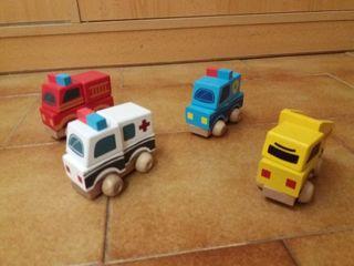 Lote de 4 coches madera encajables