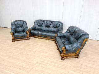 Sofas de Piel Color Gris Azulado Rusticos