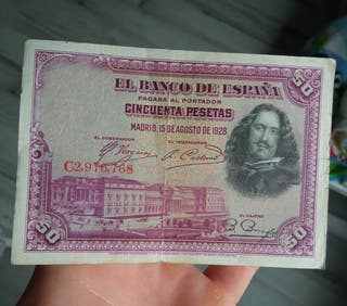 billete 50 pesetas de 1928 x 1€