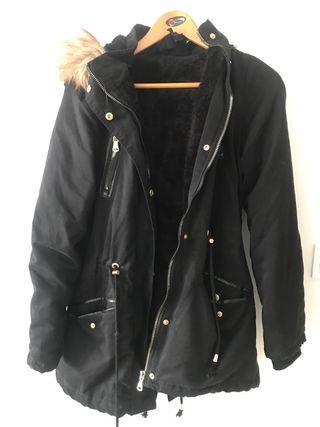 Parka negra abrigo mujer