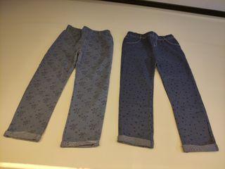 2 pantalones leggins, de bebé niña, talla 98 cm