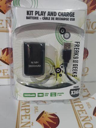 Kit batería + cable de carga xbox 360 nuevo