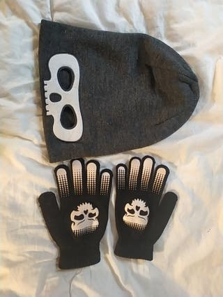 Gorro y guantes lana niño, talla8-14.
