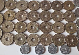 Lote 75 monedas pesetas España colección