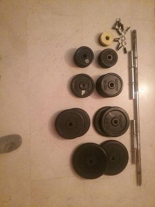 Juego de discos pesas + barra + mancuernas