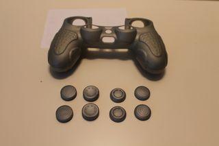 Funda mando ergonómica PS4 + 8 Grips Color Plata