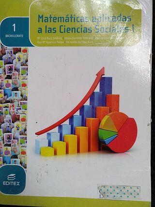 libro matemáticas ciencias sociales 1 Bach editex