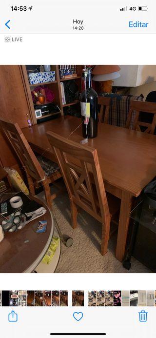 Mesa y 4 silla pino mazizo