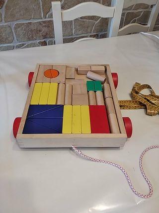 juguete de arrastre de madera
