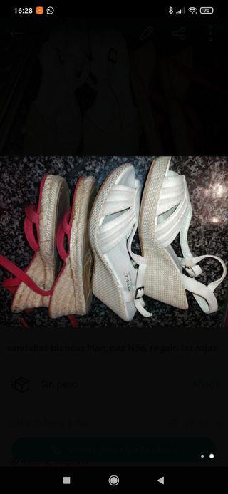 sandalias blancas Marypaz N36, regalo las rojas