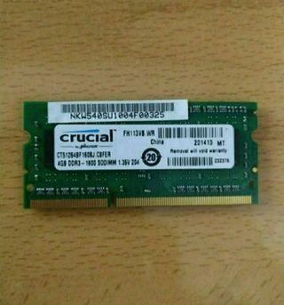 Memoria ram Crucial 4Gb DDR3-1600 PC3-12800