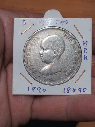 moneda 5 pesetas 1890 plata