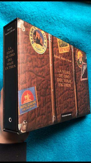 """Caja y libro de """"La edad de oro del viaje en tren"""""""