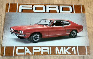 Cartel decoración de metal. Ford Capri serie 1