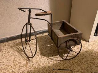 Bicicleta adorno con remolque de epoca