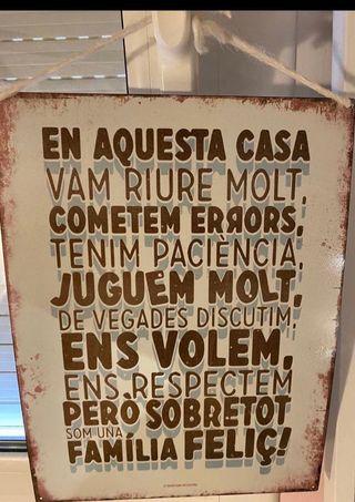 Cartel metalico decorativo en catalán