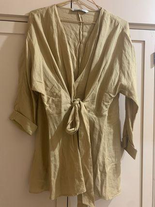 camisa-vestido color beige, zara