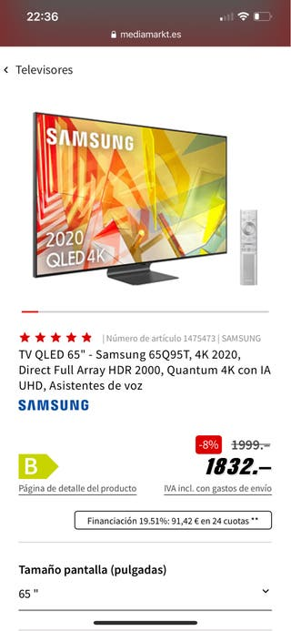 Tv Samsung 65 Pulgadas Smar Tv 4K Q95T