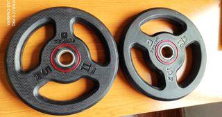 2 DISCOS 5 KGS CAUCHO ( 10 KILOS ) NUEVOS (28mm).