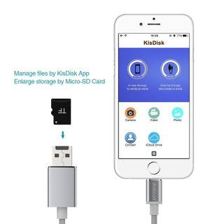 Cable lightning Lector Micro SD Cargador Apple