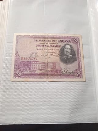 Billete 50 pesetas Agostí 1925