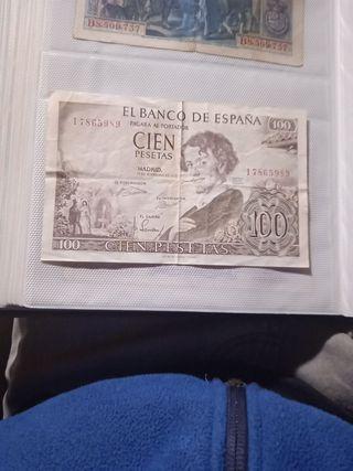 Billete 100 pesetas noviembre 1965