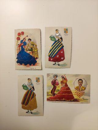 Postales Antiguas años 50, con vestidos bordados