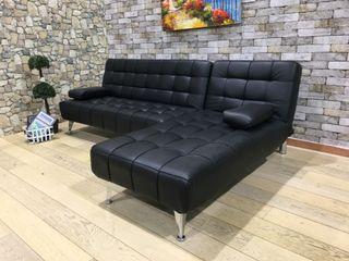 Sofá-cama chaise-longue negro polipiel