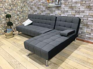 Sofá-cama chaise-longue gris tela