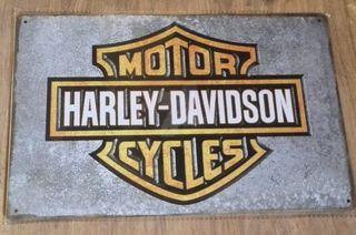 Cartel decoración de metal. Logo Harley Davidson