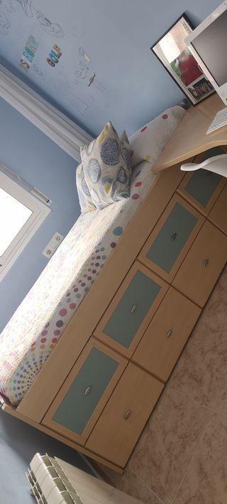 cama de 90 x 190 sin colchon + escritorio